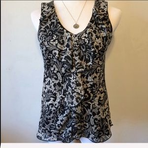 IZ BYER Black & White Ruffle Sleeveless Blouse-Sm